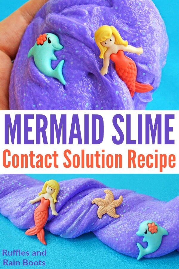 This easy mermaid slime for young kids is fun, safe, and quick to come together. Kids of all ages should set up this simple science fun. #slime #slimerecipes #mermaidslime #safeslime #purple #glitterslime #contactsolutionslime #thelittlemermaid #littlemermaid #mermaidcrafts #rufflesandrainboots