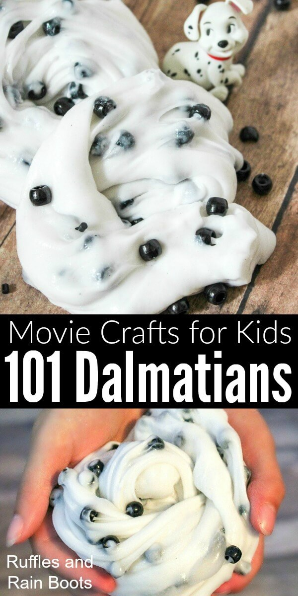 This fun and easy 101 Dalmatians slime is perfect for a quick craft for kids. Using contact solution, this slime recipe is perfect for a family movie night. #101dalmatians #disneycrafts #polkadots #slimerecipes #safeslime #rufflesandrainboots