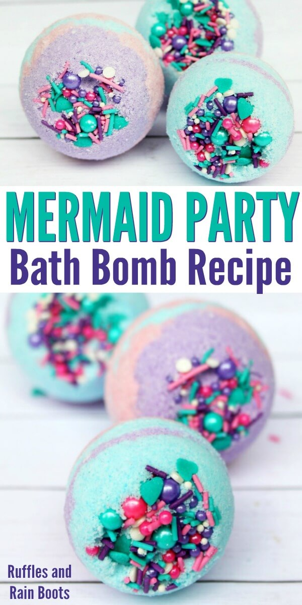 blue purple pink and sprinkles bath bombs on white wood background which text which reads mermaid bath bomb recipe