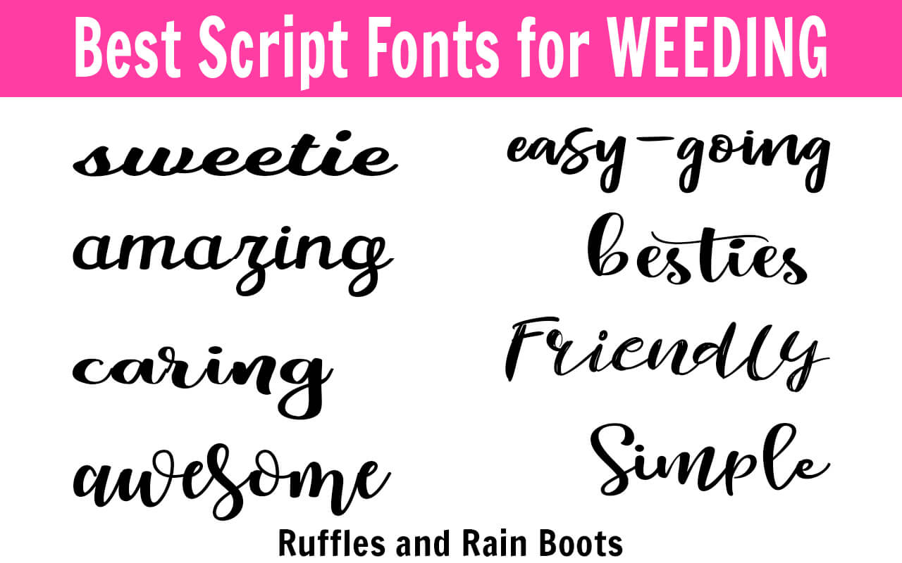 These script fonts will make weeding vinyl and paper so much easier! #vinylcrafts #digitalcrafts #freefonts #fonts #cricut #silhouette #rufflesandrainboots