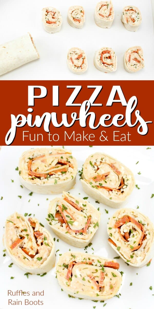 You can make these fun pizza pinwheels in just minutes. Great for a back to school lunch or a busy weeknight meal, these pinwheel pizzas are sure to please. #pinwheels #pizza #pinwheelsandwiches #backtoschool #lunchideas #dinnerrecipes #weeknightmeals #rufflesandrainboots
