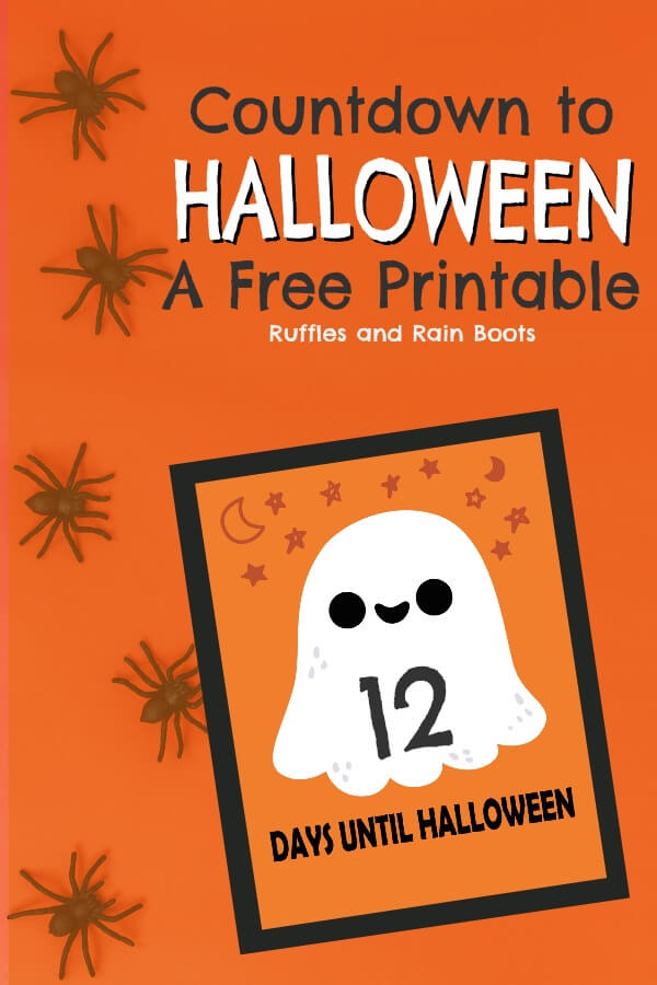 This Halloween Countdown printable set is fun for all ages. One set is a ghost and the other a bat and pumpkin. #halloween #halloweencountdown #halloweenprintable #halloweenforkids #printable #rufflesandrainboots