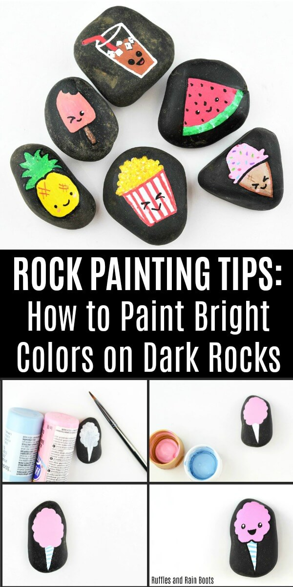 Paint these cute Kawaii rock painting food stones and learn how to paint bright colors on dark rocks. #rockpainting #rockpainting101 #kawaii #kawaiicrafts #paintedpebbles #paintedstones #rockpaintingideas #summerrockpainting #kawaiirocks #rufflesandrainboots