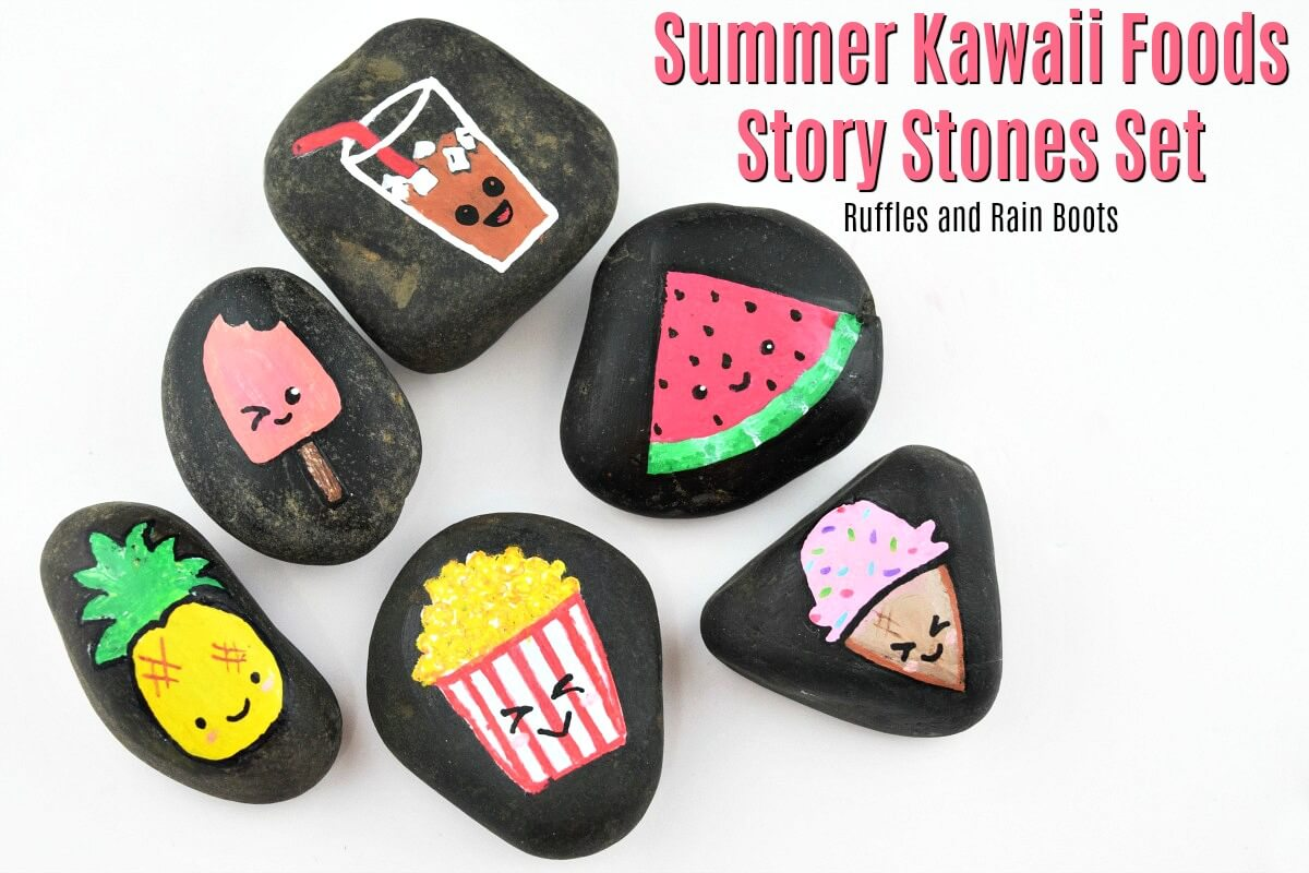 Kawaii Rock Painting Food Summer Story Stones