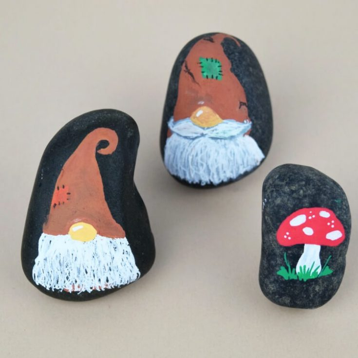 Fall Gnome Rock Painting Idea