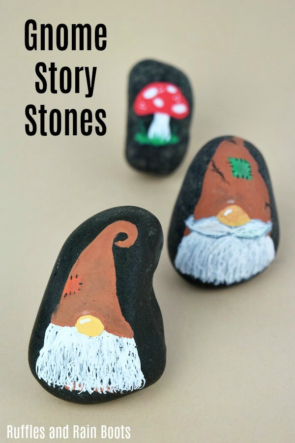 These Thanksgiving, harvest, or Fall gnome rock painting cuties are sure to bring the smiles. They are easy to make and fun to make a lot of which is why we now have a set! #rockpainting #rockpainting101 #rockpaintingideas #gnomes #storystones #howtopaintrocks #rockpaintingforbeginners #gnomecrafts #diygnomes #paintedpebbles #paintedstones #rufflesandrainboots