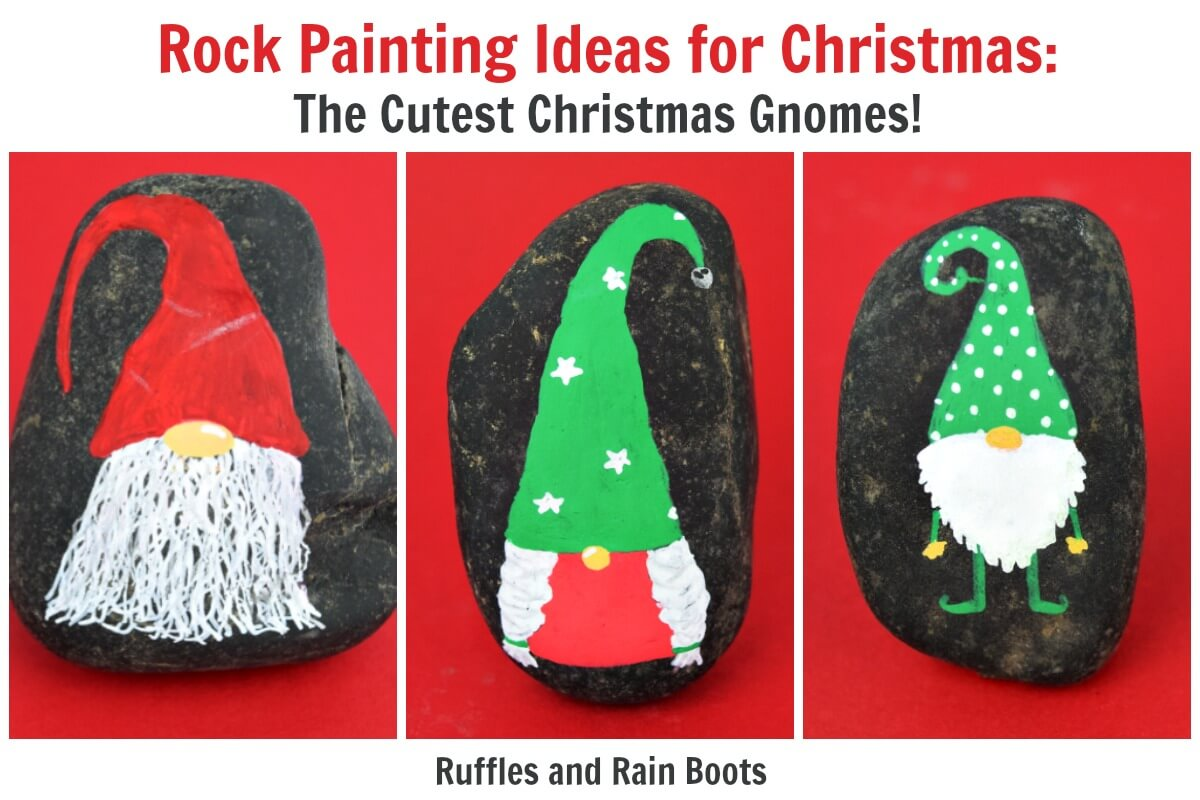 Christmas Painting Ideas.Christmas Gnome Rock Painting Idea For Story Stones