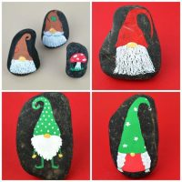 Christmas Gnome Rock Painting Idea for Story Stones