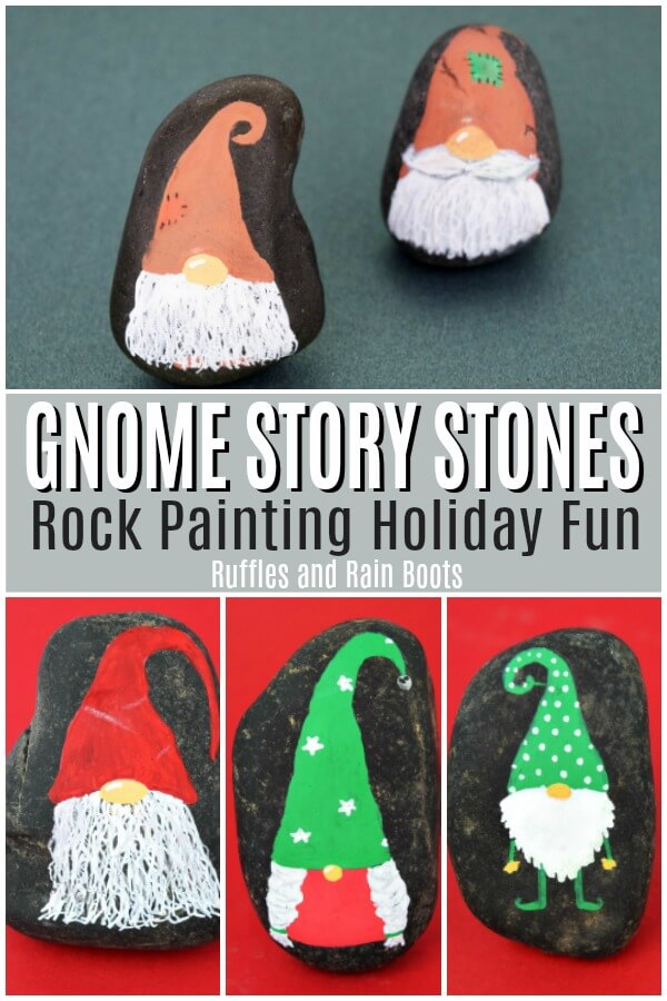 These Christmas gnome rock painting ideas will have you creating the season's cutest little friends. Simple and quick, they make great story stone sets or paint and hide rocks. #rockpainting #rockpainting101 #rockhiding #Christmascraft #diychristmas #christmasrock #christmasrockpainting #holidayrock #holidayrocks #gnomerocks #gnomes #rufflesandrainboots