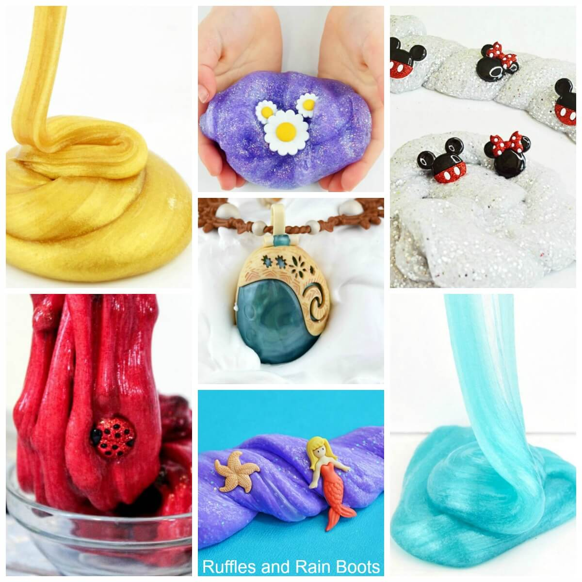 Amazing slime recipes to entertain with glitter slime, butter slime, fluffy slime, borax-free slime and so much more. Ideas for young kids and older ones (even adults)! #slime #slimerecipes #diyslime #glitterslime #butterslime #clayslime #howtomakeslime #howtocolorslime #easyslime #easyslimerecipes #boraxfreeslime #contactsolutionslime #rufflesandrainboots