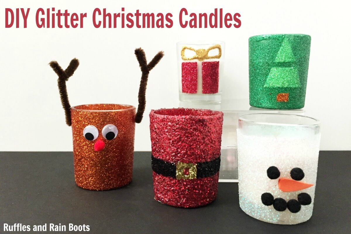 diy christmas candles using votives and glitter