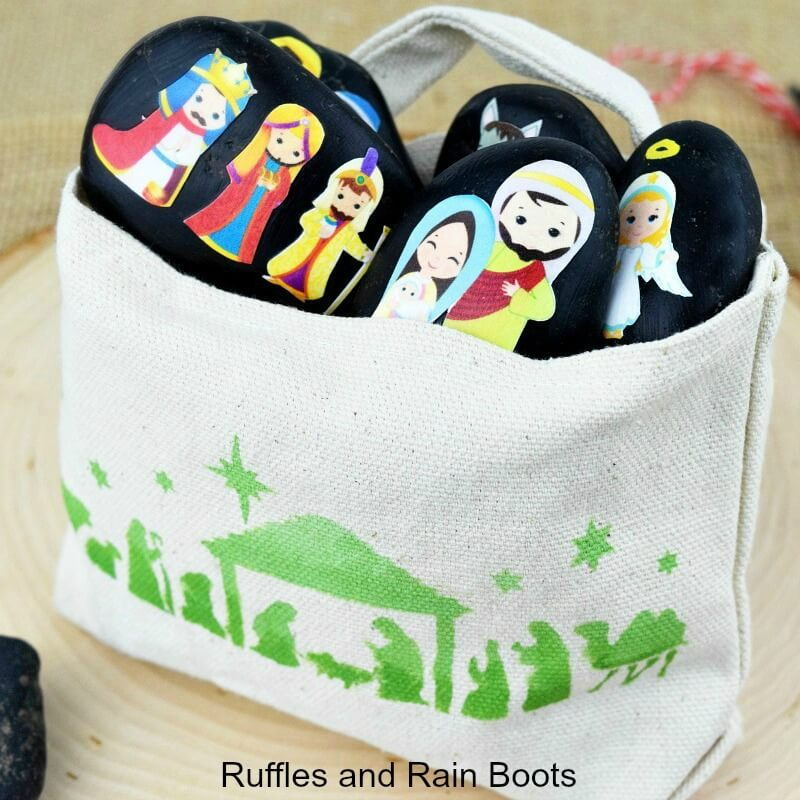 Nativity Story Stones and a Gorgeous Stenciled Bag