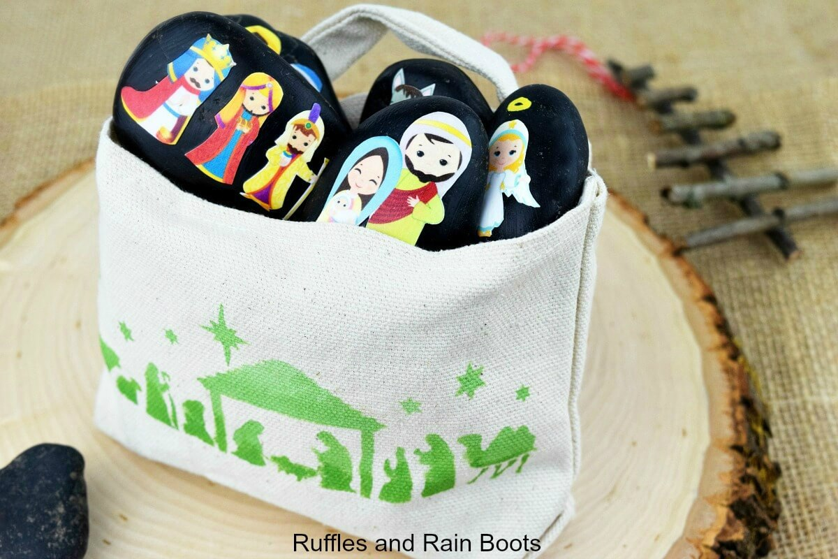 nativity story stones and stenciled gift bag