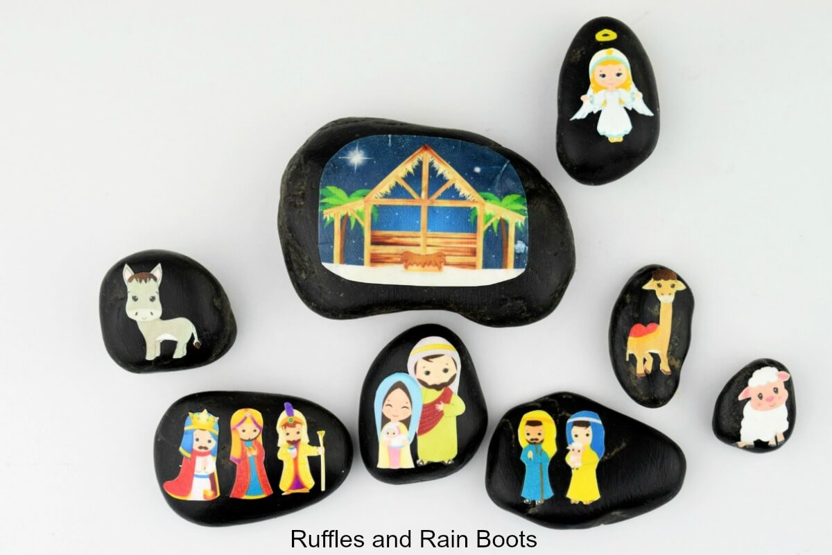 nativity story stones for rock painting ideas