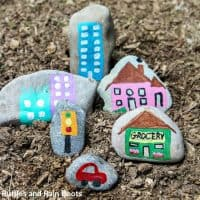 Rock Painting a Rock Village Story Stones – Fun for Kids