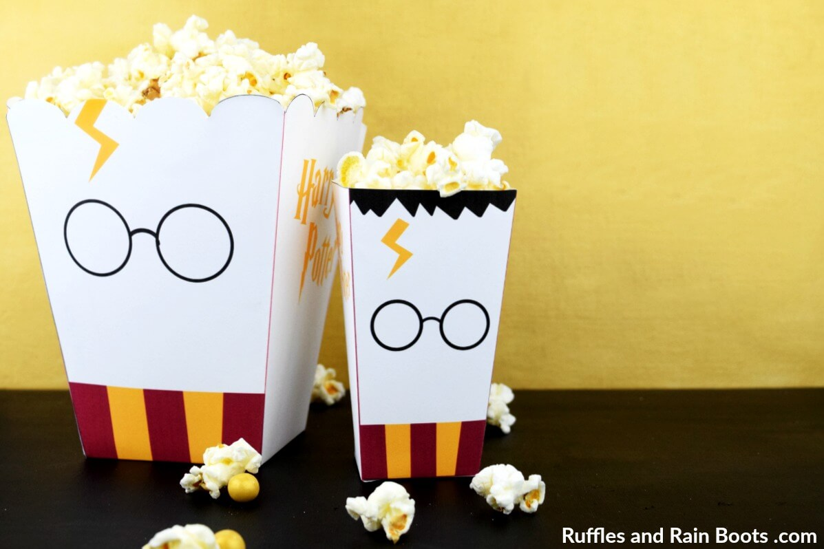graphic about Printable Popcorn Boxes titled Totally free Harry Potter Popcorn Box Printables - 2 Dimensions!