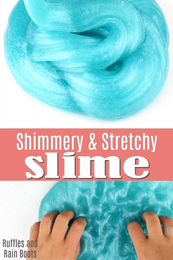 This blue crystal slime is ridiculously shiny. We found the secret to amazingly bright and shiny slime! #slime #slimerecipes #clearslime #howtocolorslime #shinyslime #stretchyslime #slimer #Elmers #rufflesandrainboots