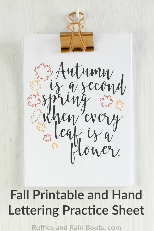 Fall Hand Lettering practice sheet and Fall Printable