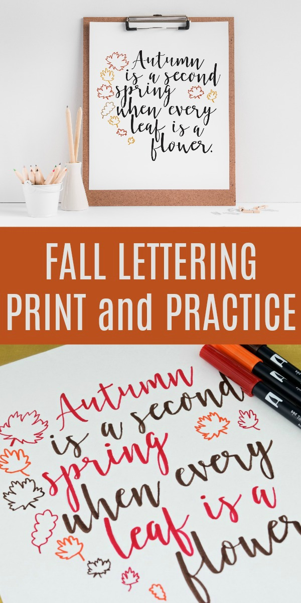 Fall Lettering Practice - Get this free fall hand lettering printable. You can even print it off completed and pop it in a frame. #freefallprintable #freeprintable #falldecor #handlettering #moderncalligraphy #letteringpractice #practicesheets #ilovefall #digitalcrafts #freesvgfiles