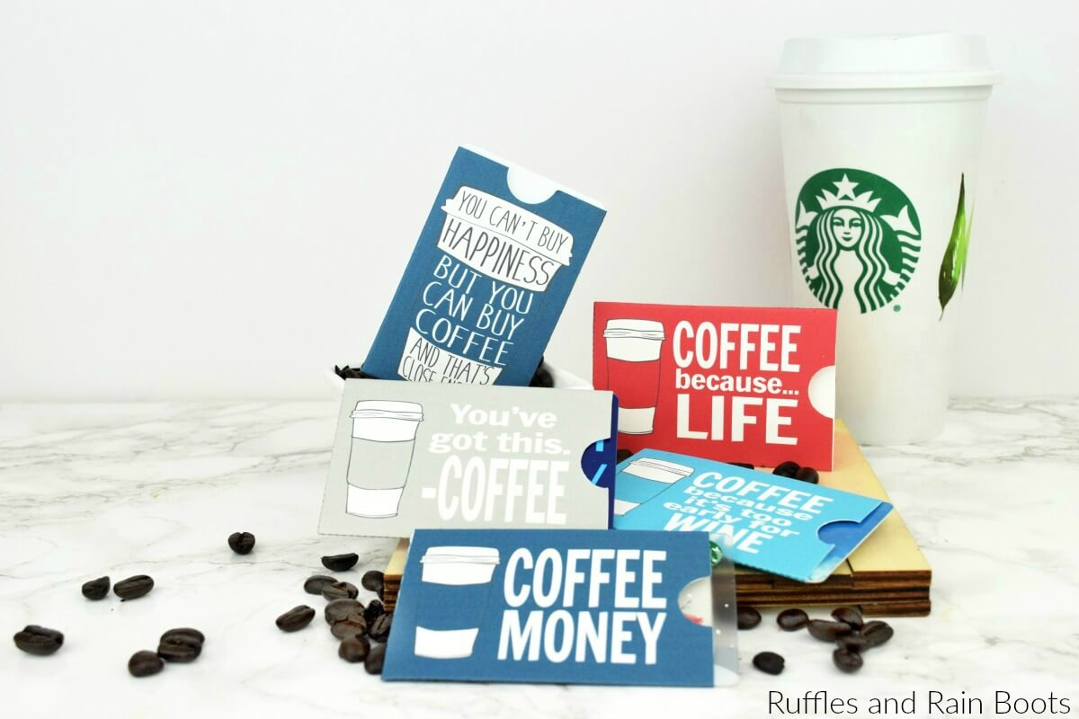 printable coffee gift card sleeves - gift card holders