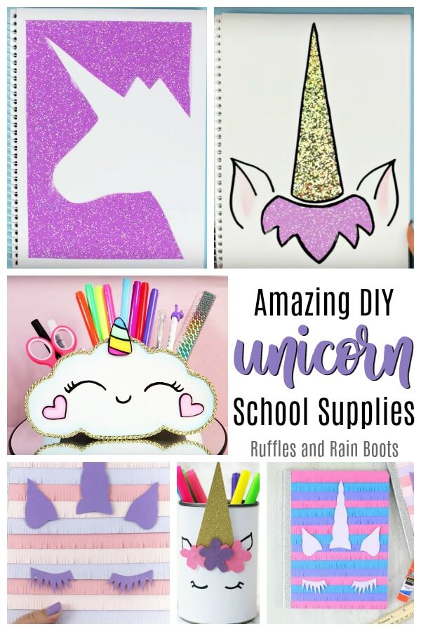 These DIY unicorn school supplies will bring ALL the smiles to any unicorn lover. #unicorn #DIYbacktoschool #diyunicorn #unicornlover #unicornnotebook #unicornpencilcase #unicorndiy #unicornschool #rufflesandrainboots
