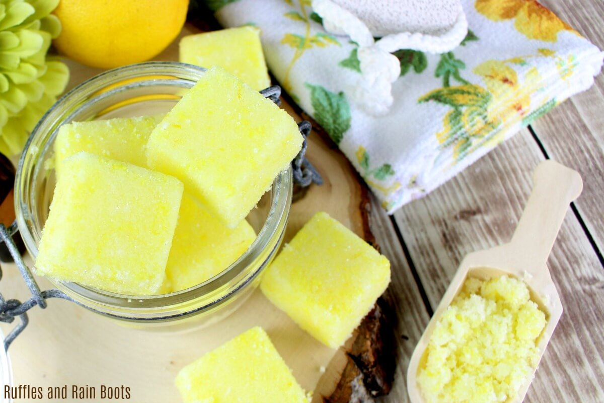 Lemon Sugar Scrub Recipe - Make sugar scrub cubes and shapes