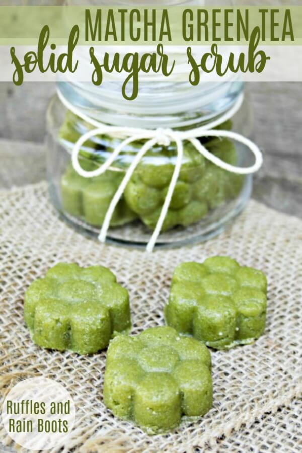 Make this easy matcha green tea sugar scrub recipe. It's in a solid form to help reduce the mess and make it easy for gift-giving! #diybath #match #greentea #diybeauty #greenteasugarscrub #sugarscrub #sugarscrubrecipes #diysugarscrub #thepoweroftea #rufflesandrainboots