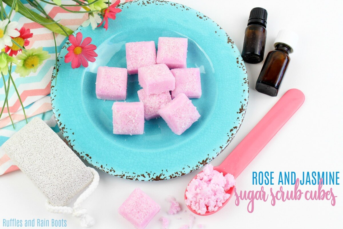 This jasmine and rose sugar scrub recipe is made in solid form to reduce mess