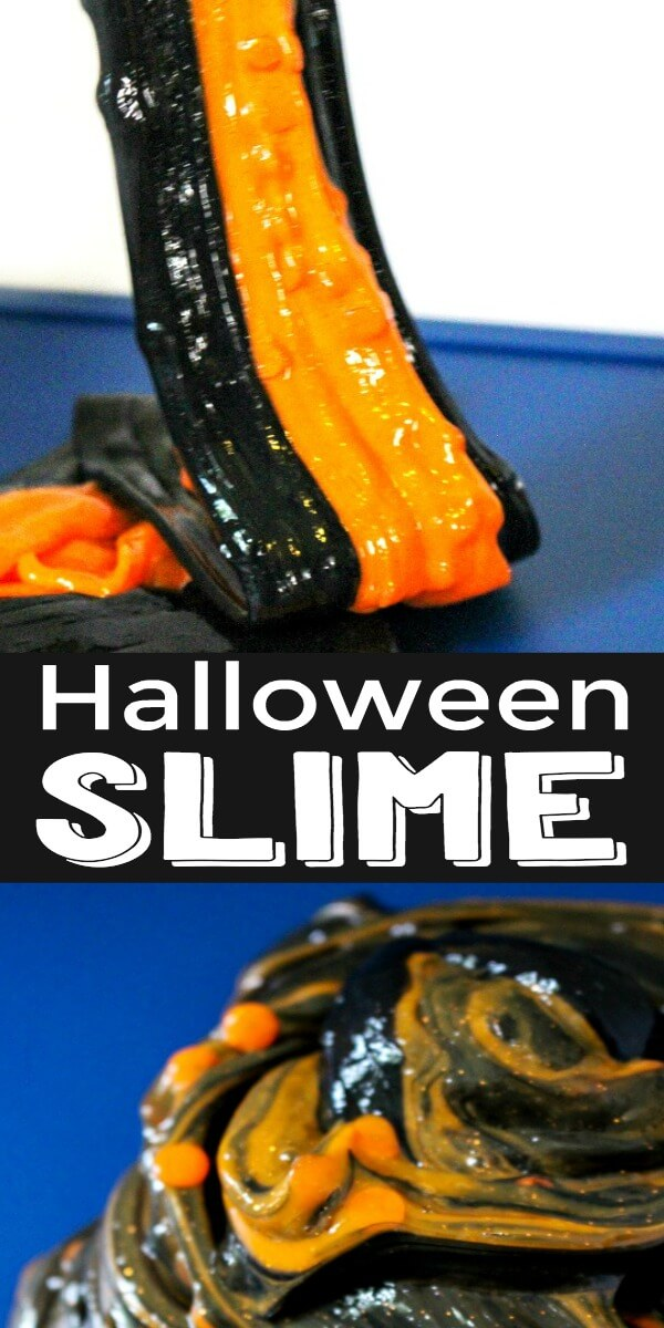 Make this two color Halloween slime and have a fun learning experience for the spookiest holiday! #slime #awesomeslime #slimerecipes #howtomakeslime #halloweencrafts #halloweenslime #twocolorslime #funslimerecipes #slimeideas #rufflesandrainboots