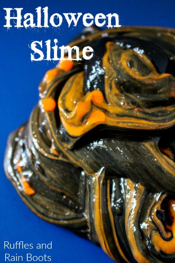 Make this two-color Halloween slime for a bit of fun and learning.