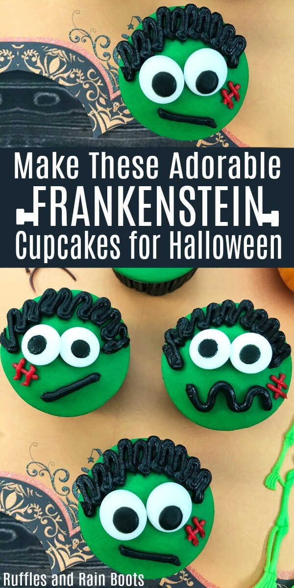 Make these adorable Frankenstein cupcakes for a non-scary Halloween treat. #halloween #cupcakes #halloweencupcakes #halloweenparty #halloweenideas #nonscaryhalloween #Frankenstein #rufflesandrainboots