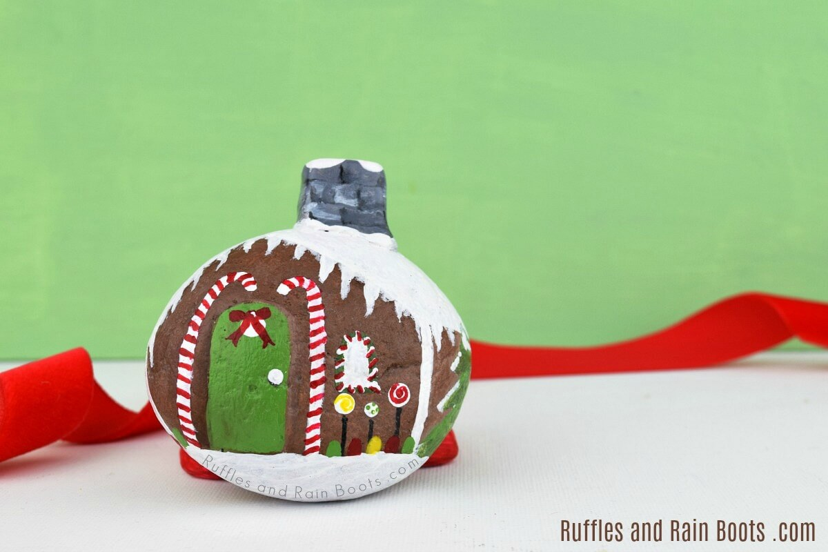 Rock Painting Idea for Christmas - Gingerbread House Painted Stone