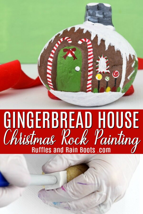 Make this easy gingerbread house rock painting idea for a Christmas rock. #rockpainting #paintedstones #rockart #Christmasrock #holidayrocks #rufflesandrainboots