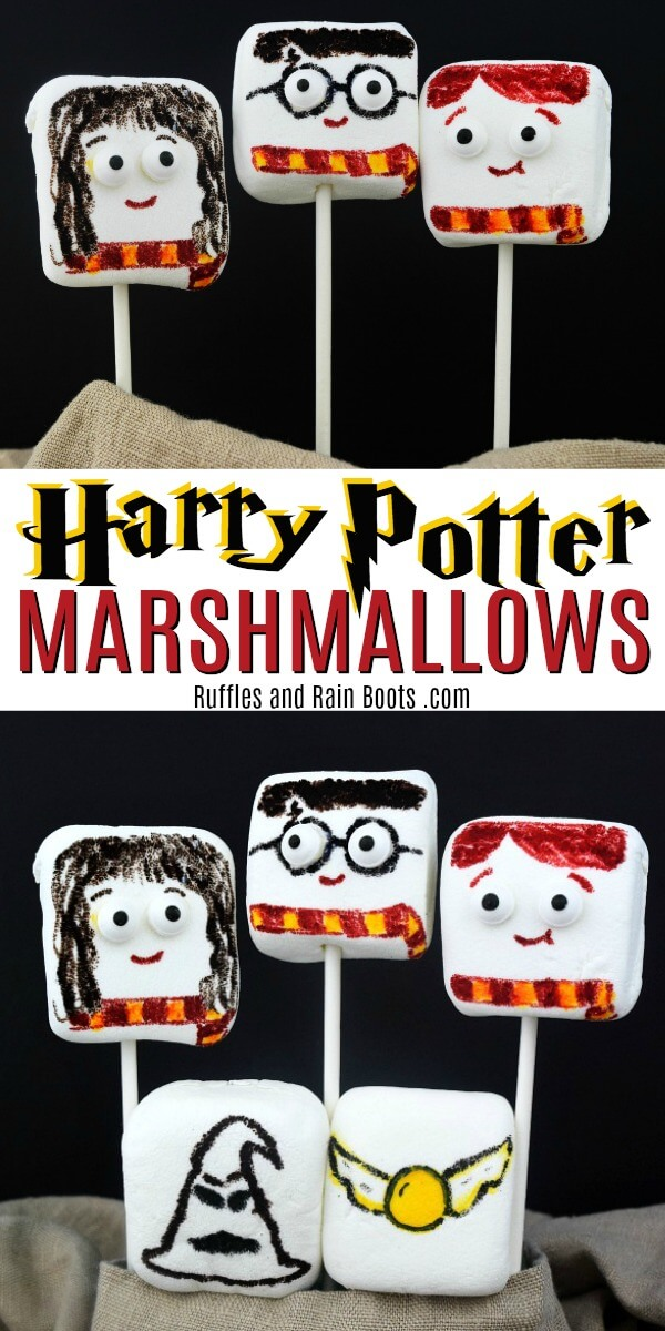 These Harry Potter marshmallows are a fun craft and a tasty treat. Set up a Harry Potter movie night and bring on the fun! #harrypotter #potterheads #marshmallows #movienight #harrypottercraft #rufflesandrainboots