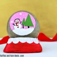 Snow Globe Rock Painting Idea for Christmas
