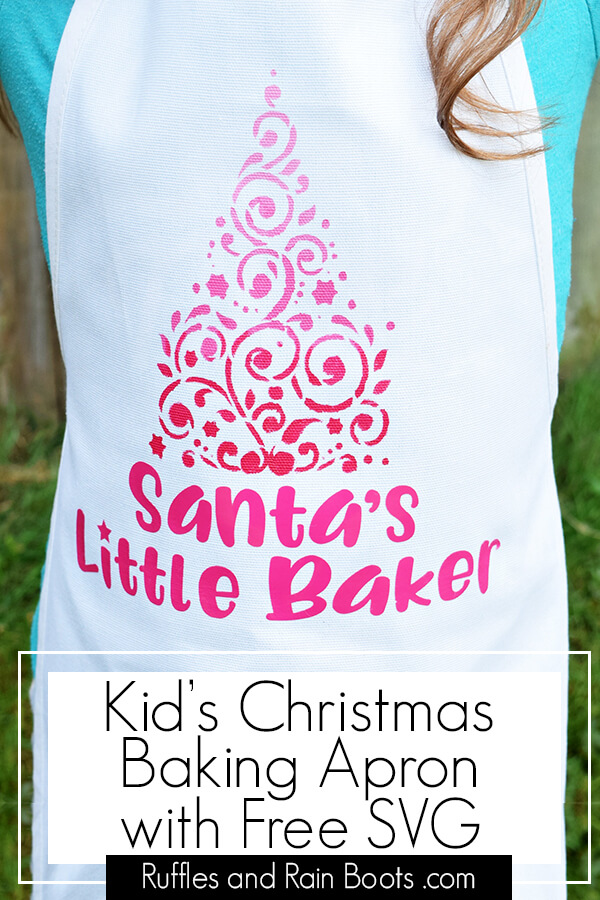 Make this stenciled kids Christmas apron in no time as a holiday gift for the little baker in your life. #Christmas #handmadeholidays #freesvg #christmassvg #giftideas #giftideasforkids #diychristmas #rufflesandrainboots