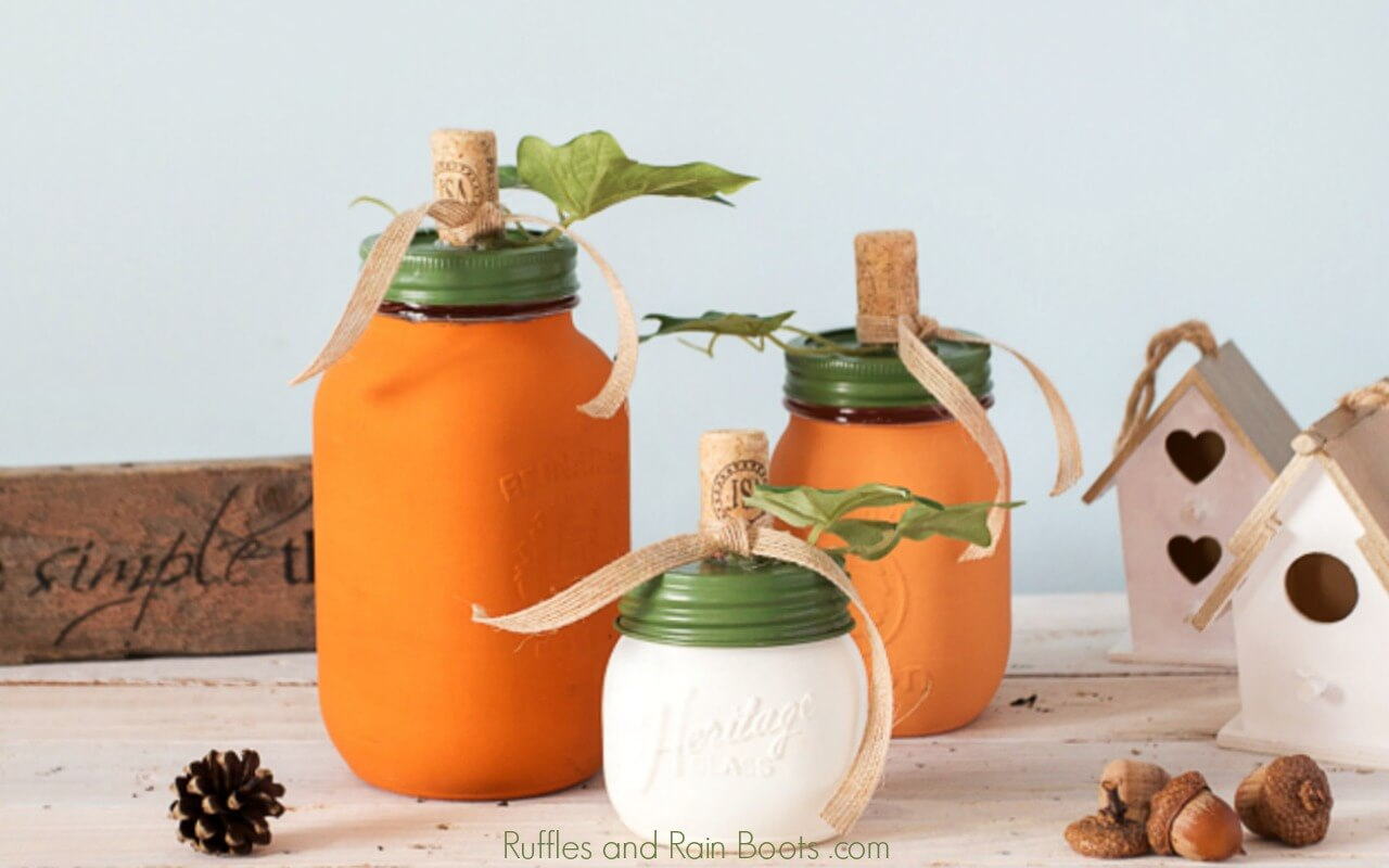Painted Pumpkin Mason Jar Craft for Fall Decor