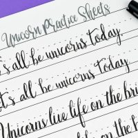 Unicorn Hand Lettering Practice Sheets