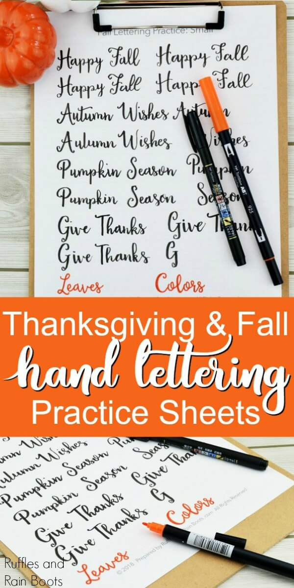 two pictures of Fall hand lettering with dual brush pens with the words Thanksgiving and Fall hand lettering practice sheets