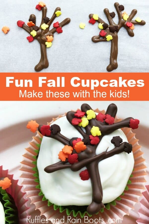 two picture white frosted chocolate cupcake with fall cupcake decorating idea with text that reads fun fall cupcakes