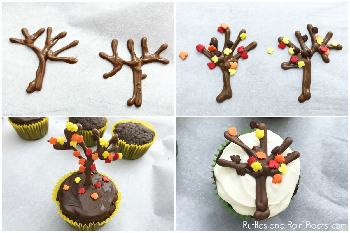 how to make fall cupcake decorating idea with tree and leaf sprinkles