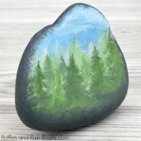 Forest Rock Painting Idea Using One Color Trees