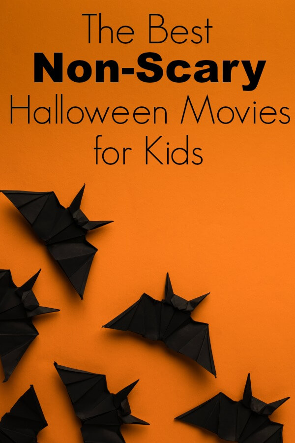 black bats on orange background with text that reads the Best non-scary Halloween movies for kids