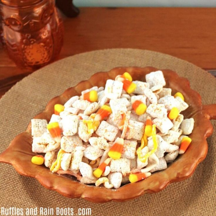 Candy Corn Puppy Chow Recipe - A Muddy Buddy Recipe for Fall
