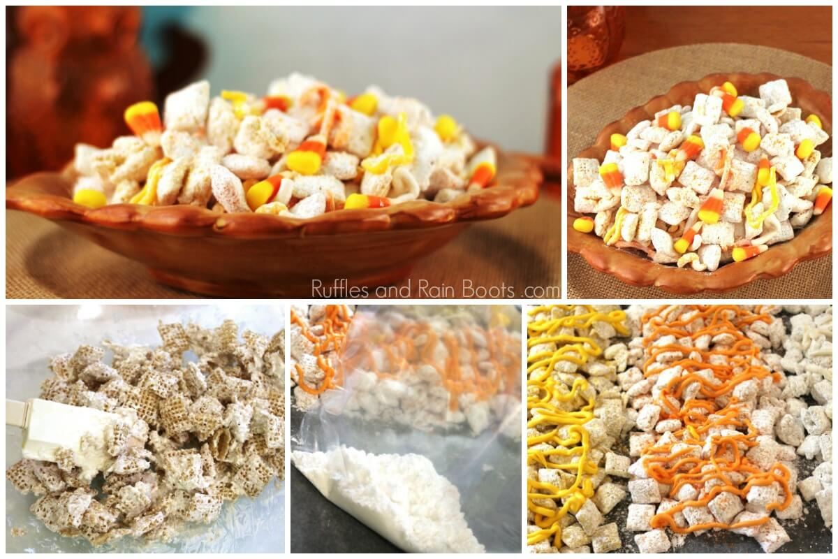 photo collage of the steps to make Fall puppy chow snack mix with Chex cereal