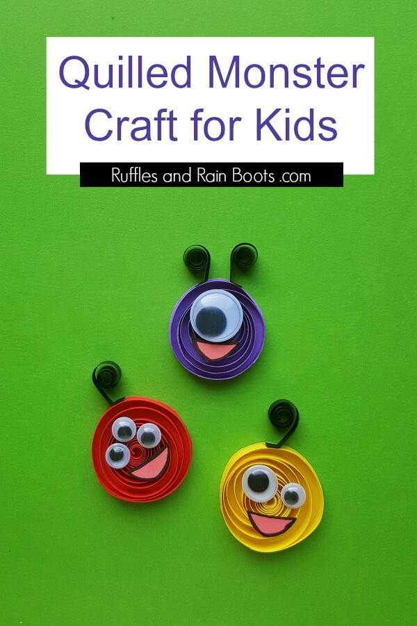 This quilled monster craft for kids is perfect for a rainy day. Click to see how fun and easy this kid's paper craft can be. #papercraft #quilling #kidscrafts #rufflesandrainboots #craftsforkids #monsters