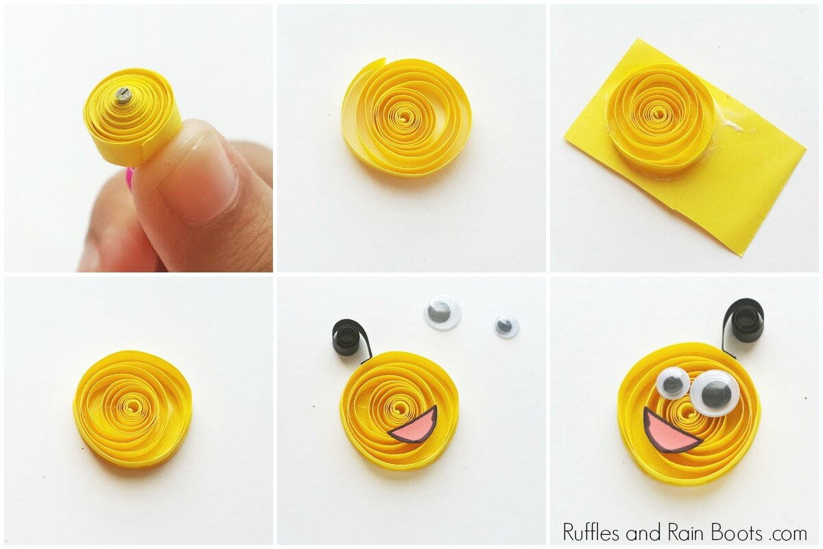 photo collage of yellow quilled monster craft for kids on white background