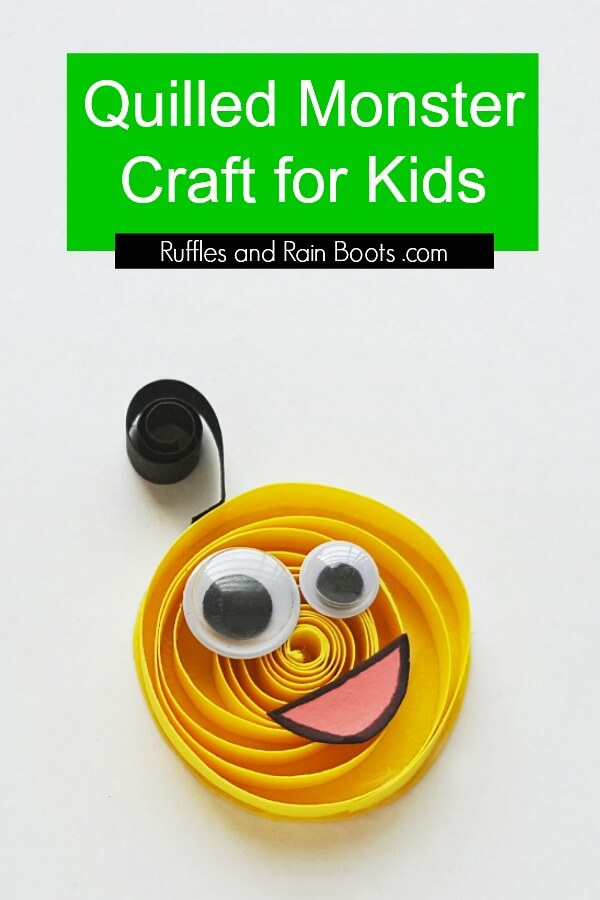 This quilled monster craft for kids is perfect for a rainy day. Click to see how fun and easy this kid's papercraft can be. #papercraft #quilling #kidscrafts #craftsforkids #monsters