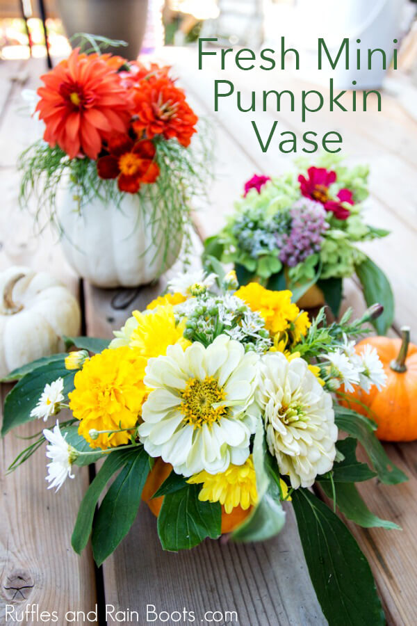 Make your own stunning pumpkin vase from a fresh or faux pumpkin. Grab a pumpkin and click through to get started with this fun Fall centerpiece. #falldecor #pumpkin #falldecorating #Thanksgiving #Thanksgivingtable