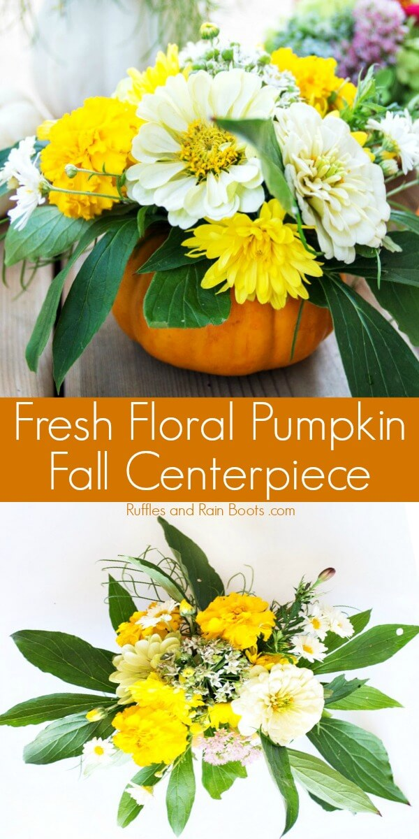 Learn how to make a pumpkin vase for a gorgeous Fall centerpiece. Get her tips on actually BUILDING a centerpiece people can talk over at the table. #fallcenterpiece #falldecorating #pumpkinvase #rufflesandrainboots